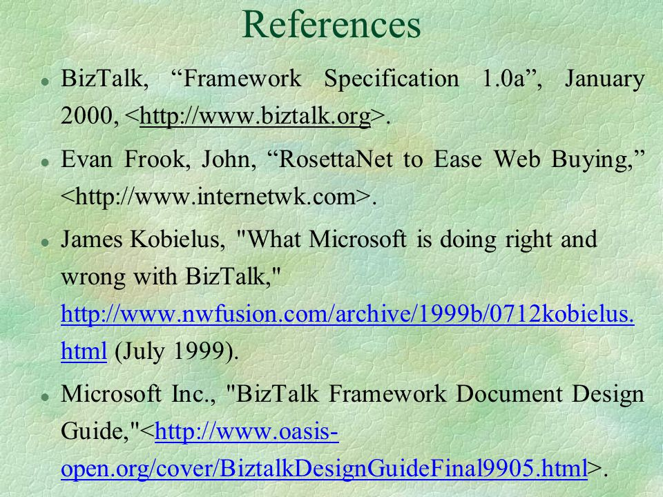 References (Contd) §Laddad, R., XML APIs for Databases, January 2000 http://www.javaworld.com/javaworld/jw-01-dbxml_p.html http://www.javaworld.com/javaworld/jw-01-dbxml_p.html §Bos, B., XML Representation of a Relational Database, July 1997 http://www.w3.org/XML/RDB.htmlhttp://www.w3.org/XML/RDB.html §Kalakota, R., and Robinson, M., E-Business: A Roadmap for success, Addison-Wesley, Reading, MA, February 2000.