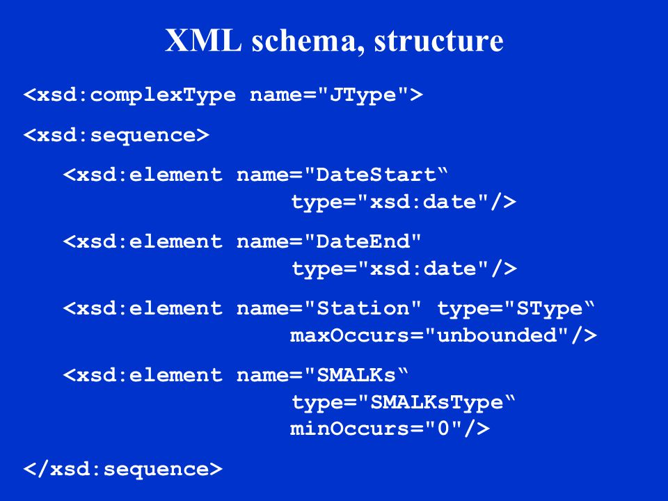 XML schema, key data