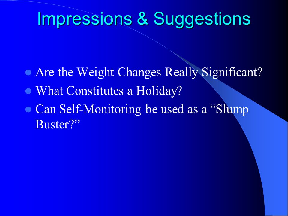 "Impressions & Suggestions Are the Weight Changes Really Significant? What Constitutes a Holiday? Can Self-Monitoring be used as a ""Slump Buster?"""