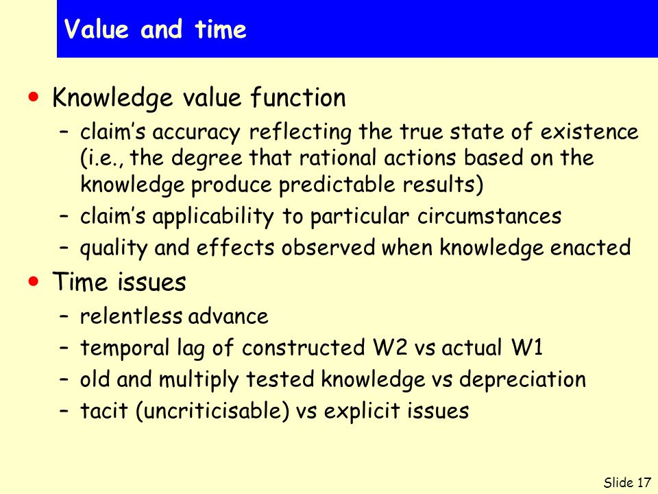 Slide 17 Value and time Knowledge value function –claim's accuracy reflecting the true state of existence (i.e., the degree that rational actions base