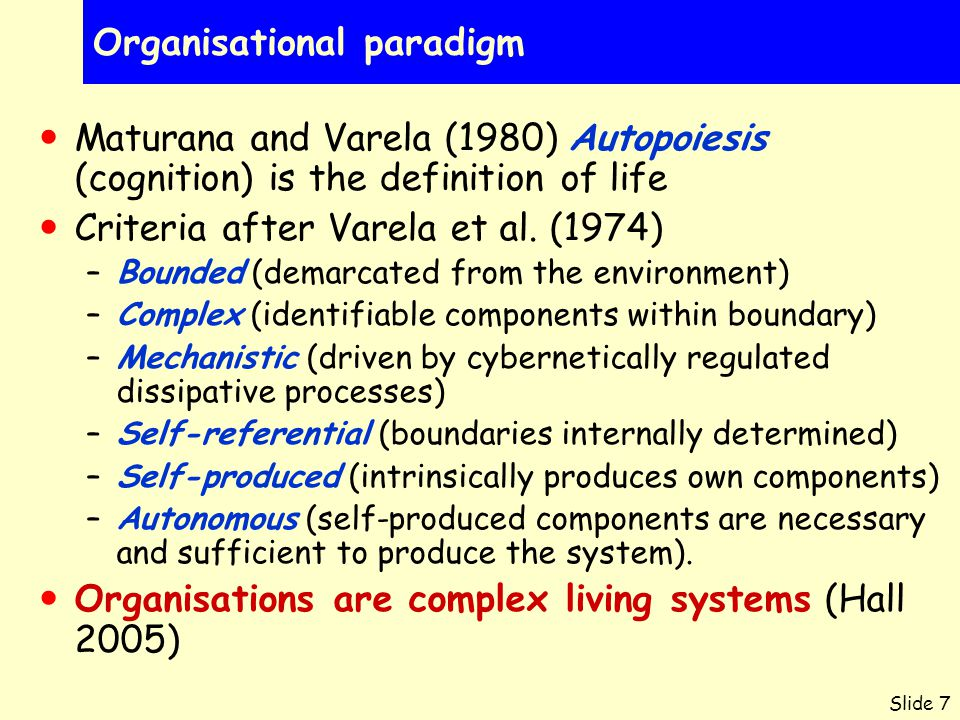 Slide 7 Organisational paradigm Maturana and Varela (1980) Autopoiesis (cognition) is the definition of life Criteria after Varela et al. (1974) –Boun
