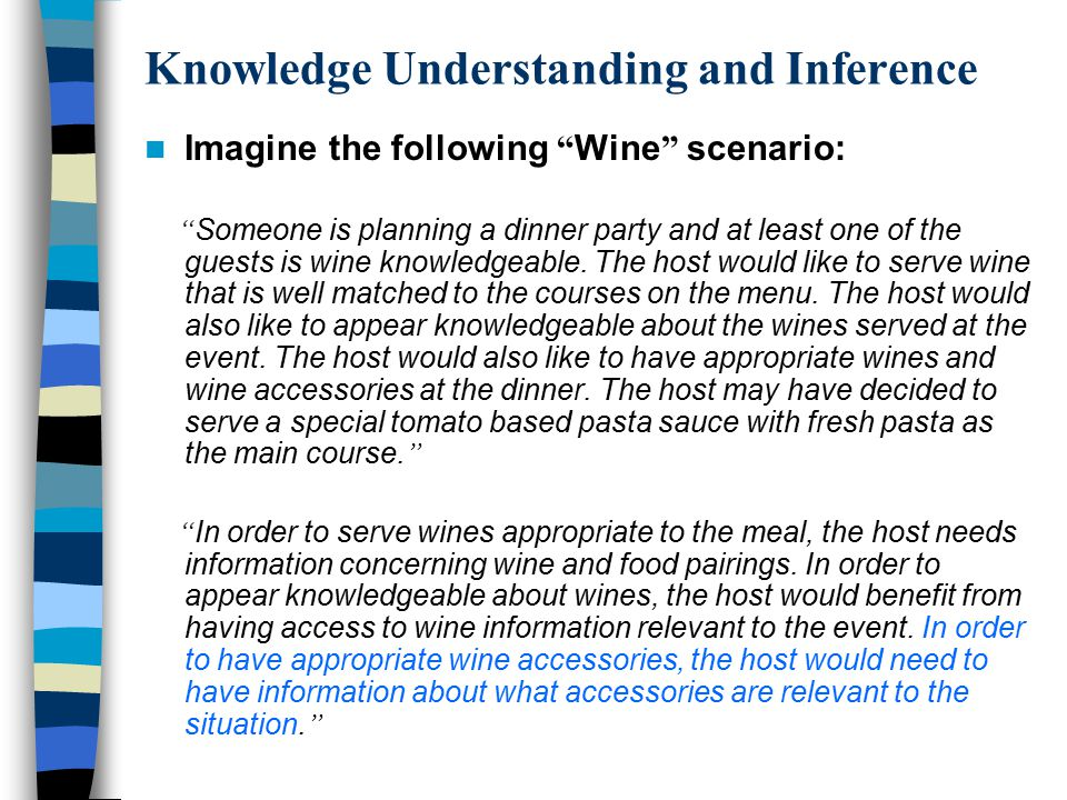 "Knowledge Understanding and Inference Imagine the following "" Wine "" scenario: "" Someone is planning a dinner party and at least one of the guests is"