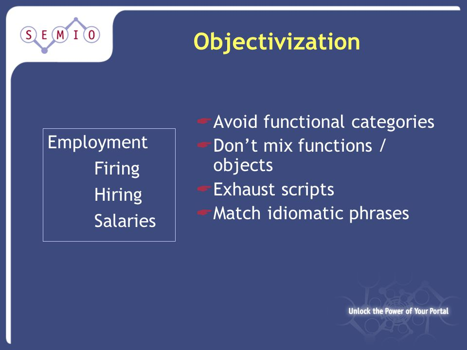 Objectivization Employment Firing Hiring Salaries  Avoid functional categories  Don't mix functions / objects  Exhaust scripts  Match idiomatic phrases