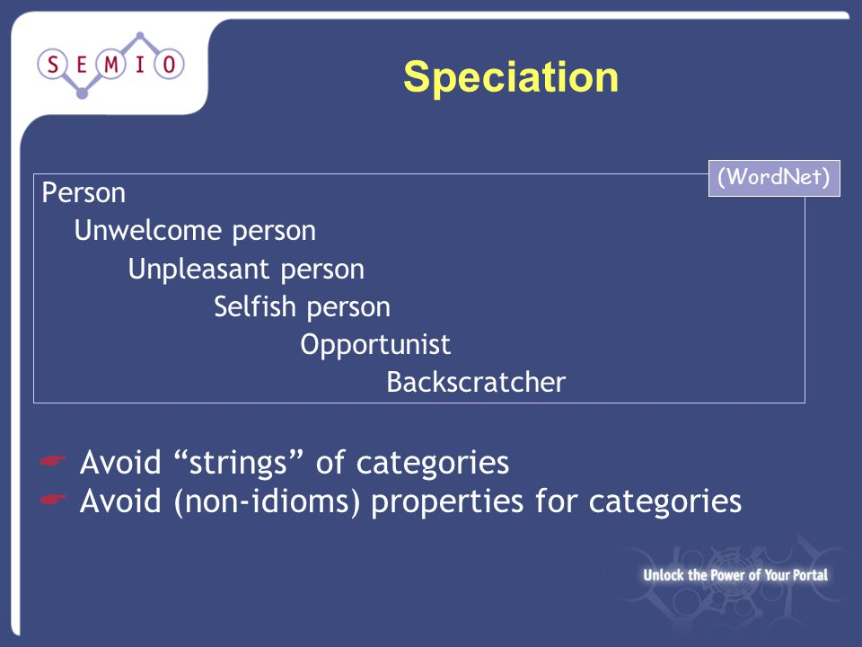 Speciation Person Unwelcome person Unpleasant person Selfish person Opportunist Backscratcher  Avoid strings of categories  Avoid (non-idioms) properties for categories (WordNet)