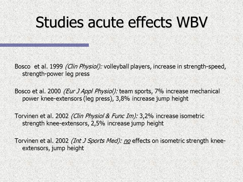 Studies acute effects WBV Bosco et al.