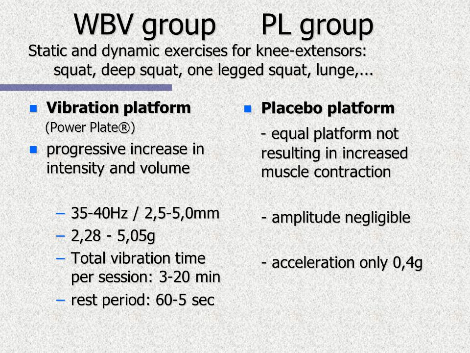 WBV group PL group Static and dynamic exercises for knee-extensors: squat, deep squat, one legged squat, lunge,...