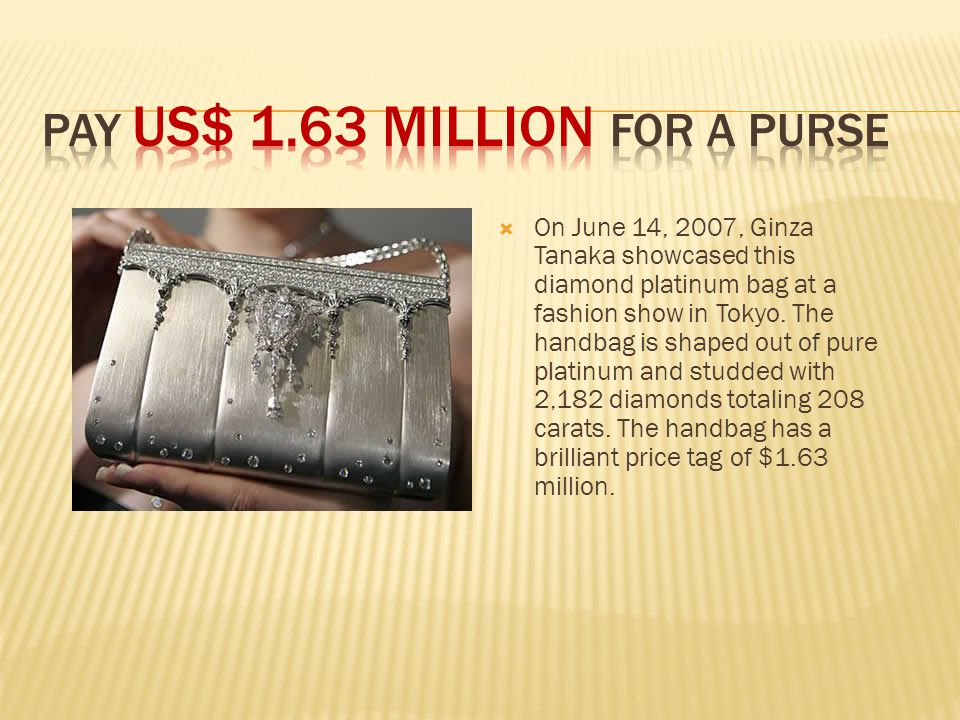  On June 14, 2007, Ginza Tanaka showcased this diamond platinum bag at a fashion show in Tokyo.