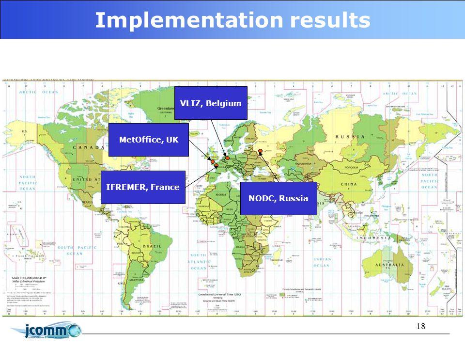 18 Implementation results MetOffice, UK IFREMER, France VLIZ, Belgium NODC, Russia
