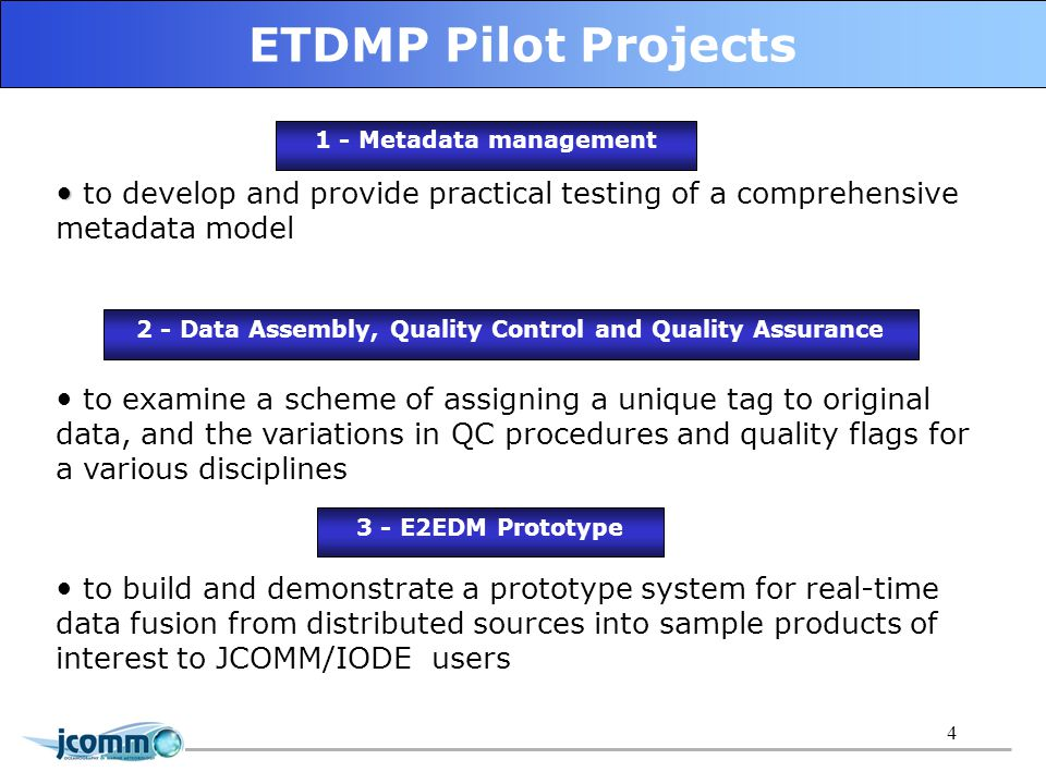 5 E2EDM Prototype should provides functionality for: local data systems wrapping by E2EDM services data extraction from distributed sources on user requests/scheduling on-line aggregation and visualization creation of new products based on the obtained data E2EDM Prototype should integrates the data: at operational and delay-mode time scale across multidisciplinary ocean and marine meteo datasets/flows from geographically distributed data sources existing in different formats (codes, dictionaries and etc.) Pilot Project scope