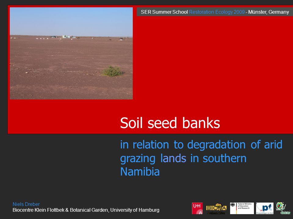 Soil seed banks in relation to degradation of arid grazing lands in southern Namibia Niels Dreber Biocentre Klein Flottbek & Botanical Garden, University of Hamburg SER Summer School Restoration Ecology 2009 - Münster, Germany