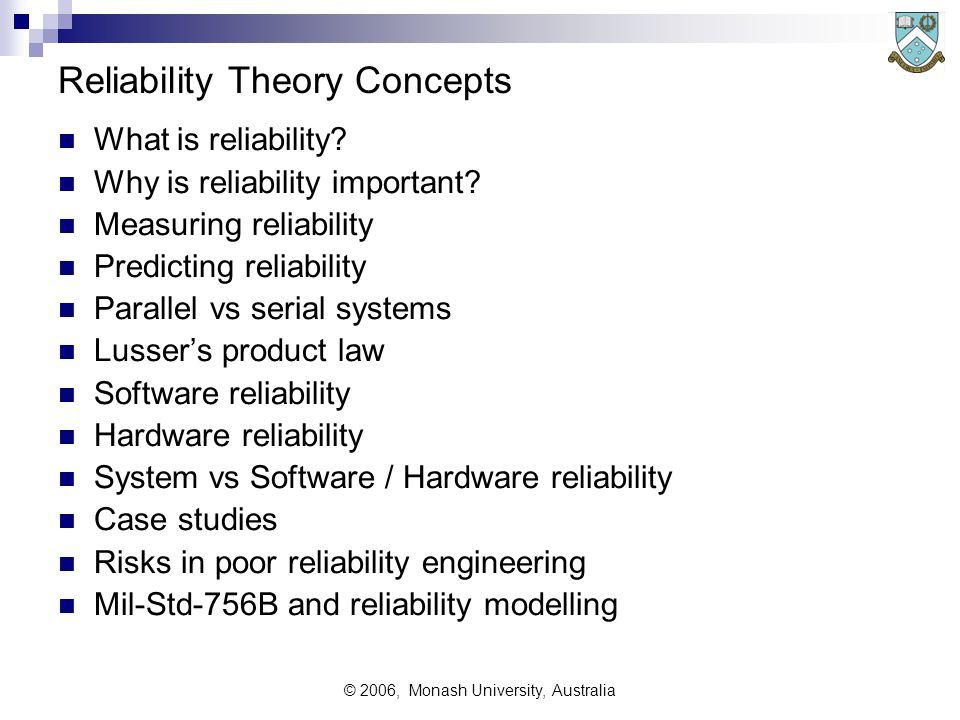 © 2006, Monash University, Australia Reliability Theory Concepts What is reliability? Why is reliability important? Measuring reliability Predicting r