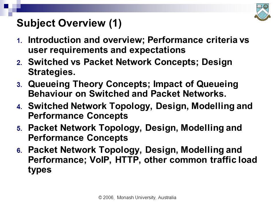 © 2006, Monash University, Australia Subject Overview (1) 1.