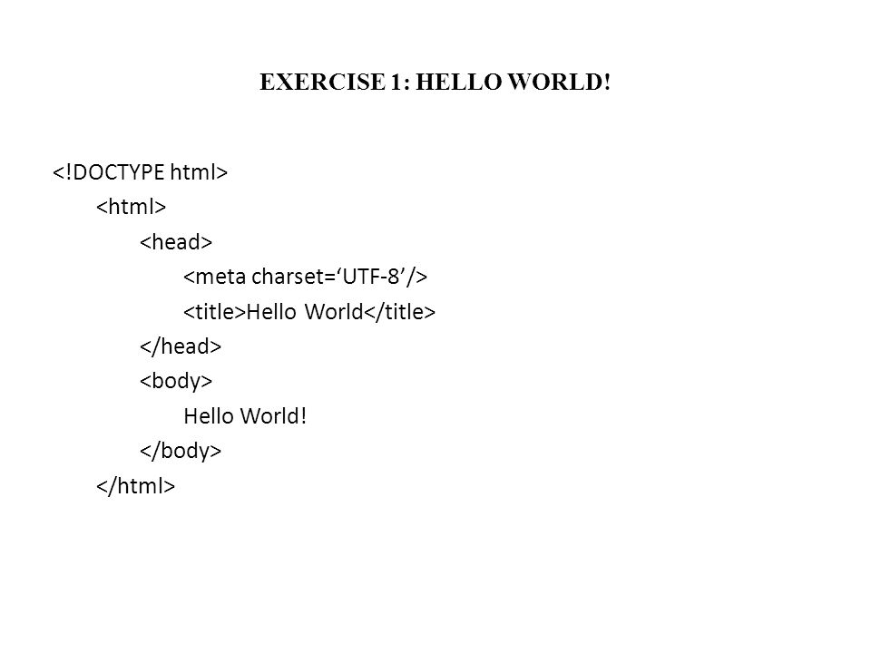 EXERCISE 1: HELLO WORLD! Hello World Hello World!