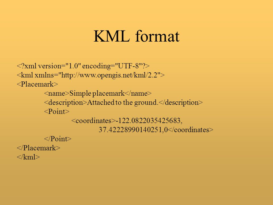 KML format Simple placemark Attached to the ground. -122.0822035425683, 37.42228990140251,0