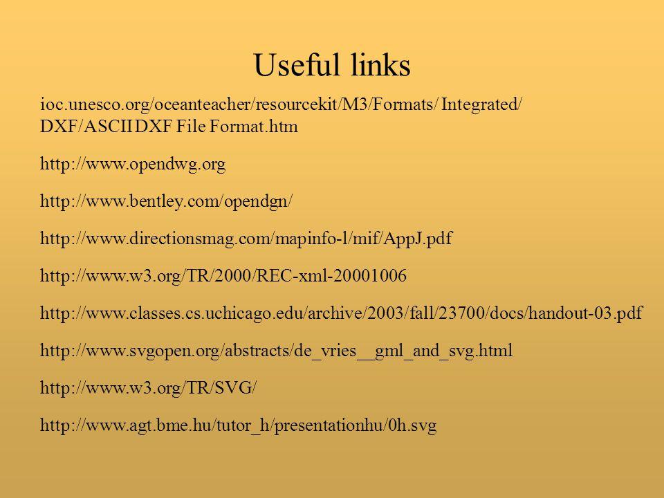 Useful links ioc.unesco.org/oceanteacher/resourcekit/M3/Formats/ Integrated/ DXF/ASCII DXF File Format.htm http://www.opendwg.org http://www.bentley.com/opendgn/ http://www.directionsmag.com/mapinfo-l/mif/AppJ.pdf http://www.w3.org/TR/2000/REC-xml-20001006 http://www.classes.cs.uchicago.edu/archive/2003/fall/23700/docs/handout-03.pdf http://www.svgopen.org/abstracts/de_vries__gml_and_svg.html http://www.w3.org/TR/SVG/ http://www.agt.bme.hu/tutor_h/presentationhu/0h.svg
