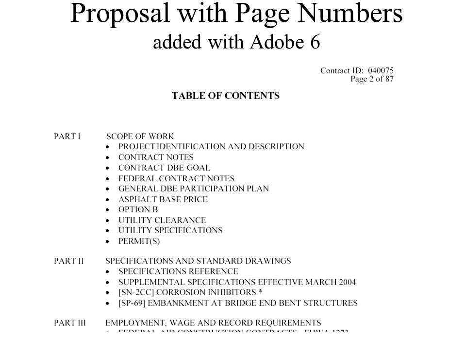 Proposal with Page Numbers added with Adobe 6