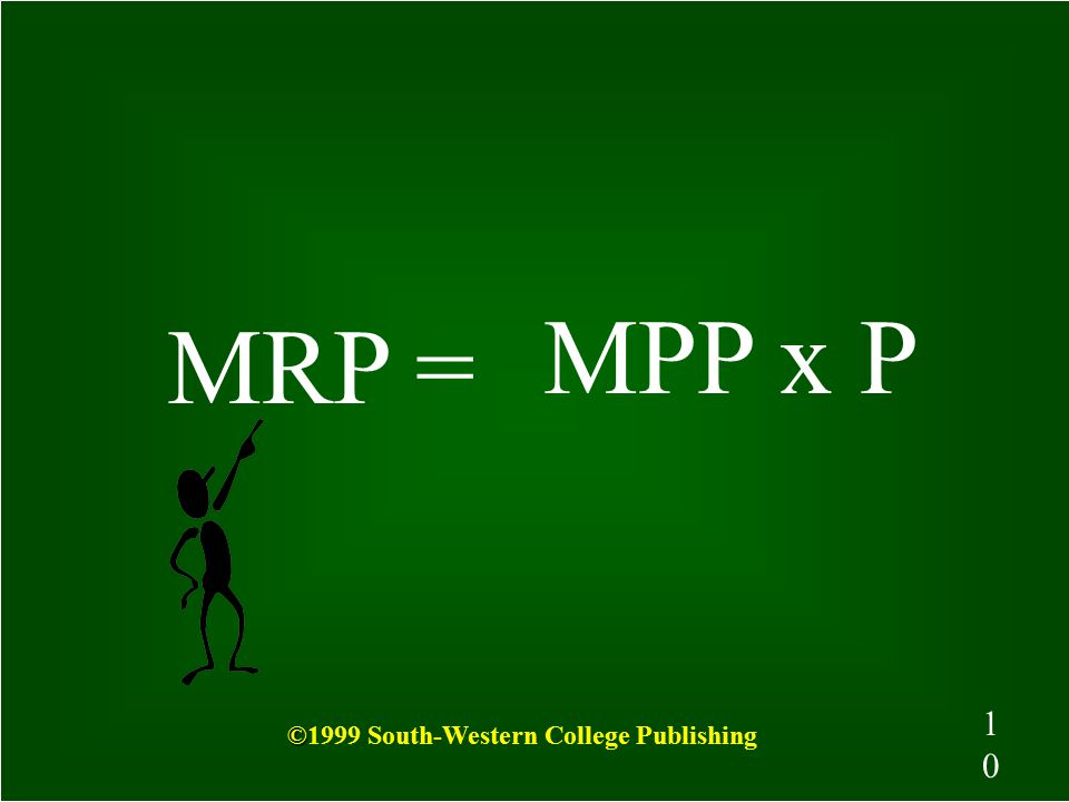 9 What is Marginal Revenue Product? MRP is the change in total revenue that results from adding one more unit of a resource, such as labor, to product