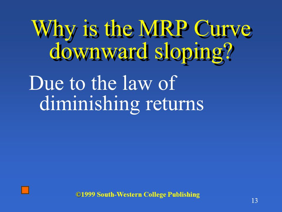 12 Calculation of MRP LaborOutputMPPPTRMRP 00$50 110 $5$50 2188$5$90$40 3246$5$120$30 4284$5$140$20 5302$5$150$10