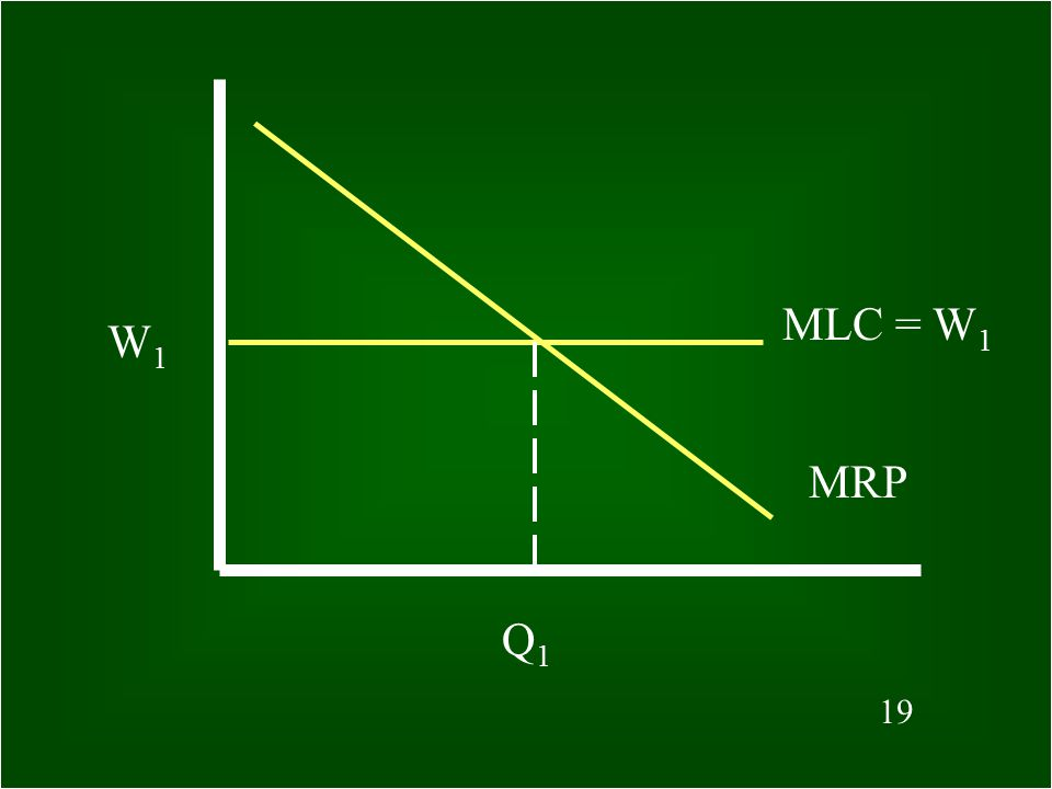 18 What is MLC equal to in a perfectly competitive labor market? The same as the market wage rate, that is, MLC = W (wage)