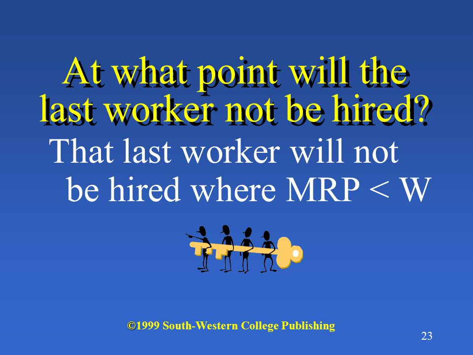 22 Why is profit made from hiring the last worker if MRP > W.