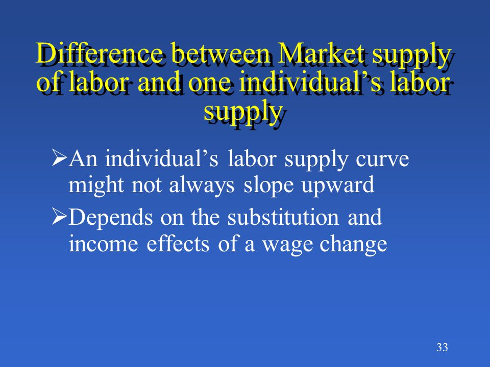 32 Why is the Supply Curve for Labor generally upward sloping? Because as the wage rate increases, more workers in the labor market will accept a job