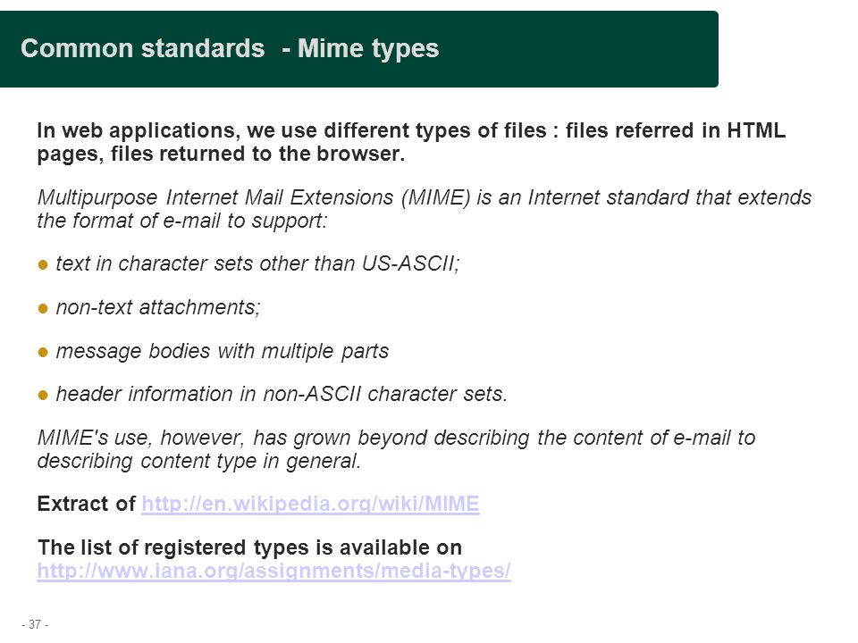 - 37 - Common standards - Mime types In web applications, we use different types of files : files referred in HTML pages, files returned to the browse