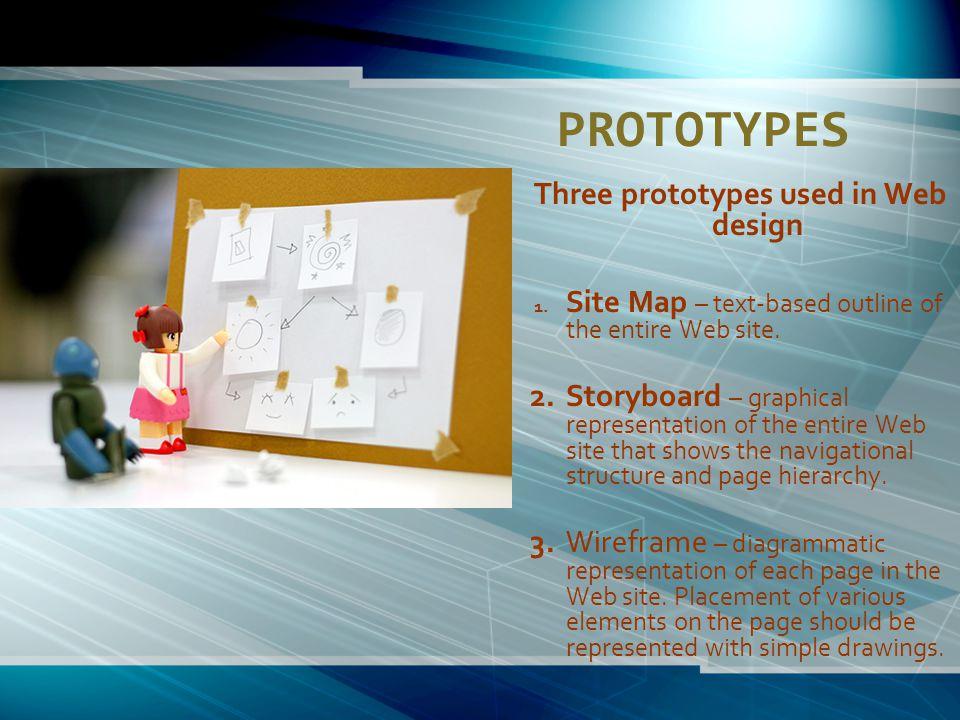 PROTOTYPES Three prototypes used in Web design 1.