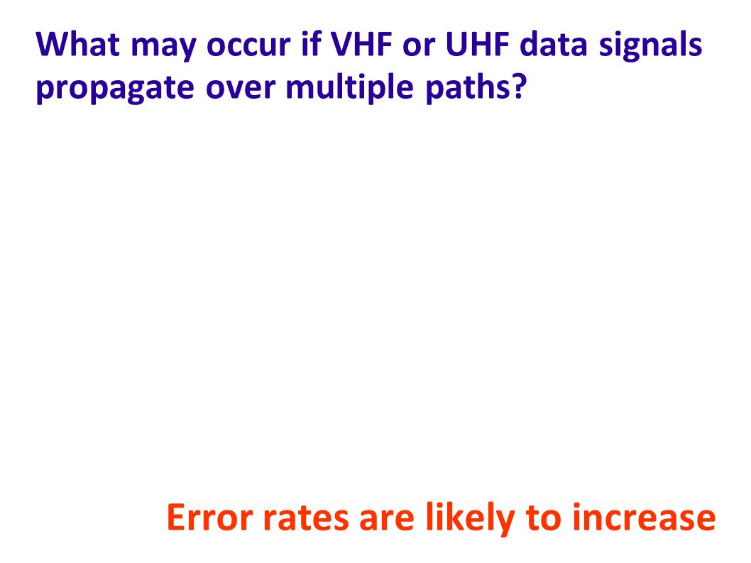 What may occur if VHF or UHF data signals propagate over multiple paths.