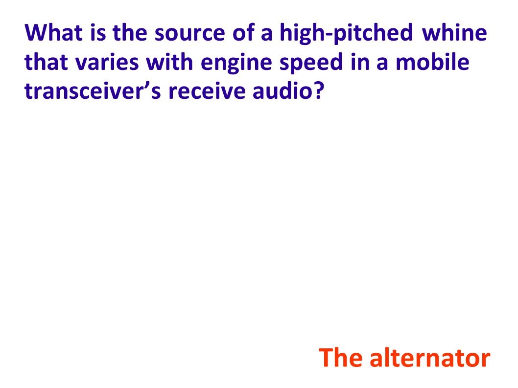 What is the source of a high-pitched whine that varies with engine speed in a mobile transceiver's receive audio.