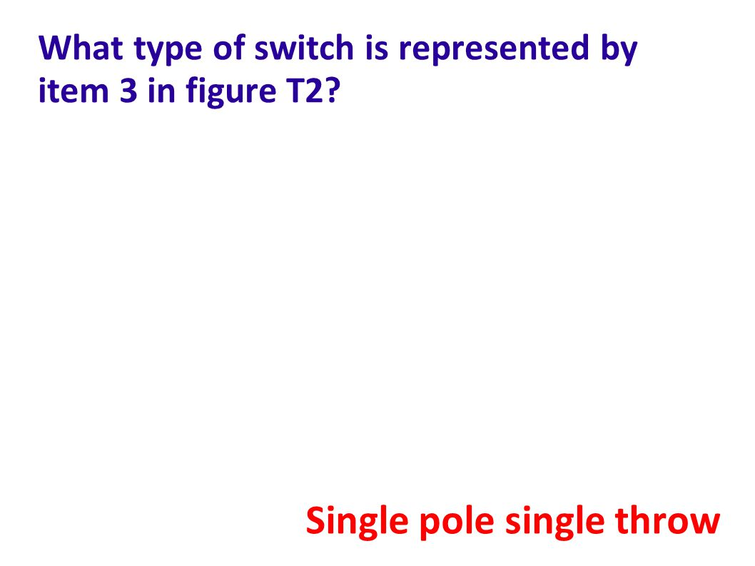What type of switch is represented by item 3 in figure T2? Single pole single throw