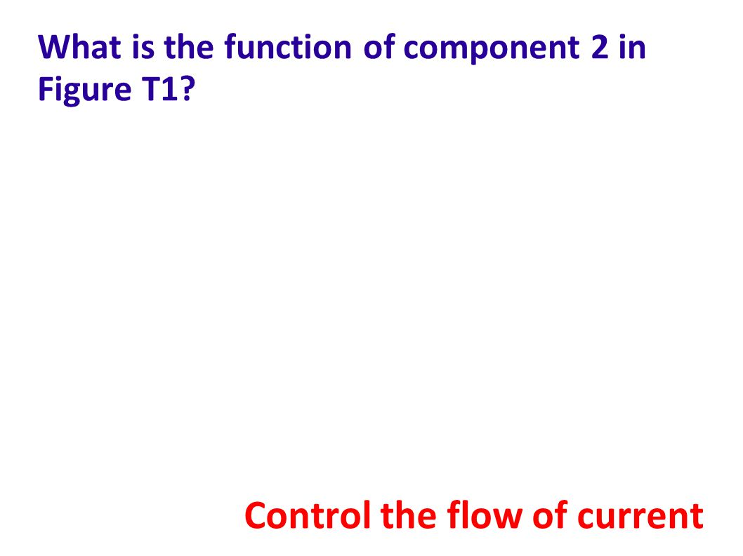 What is the function of component 2 in Figure T1? Control the flow of current