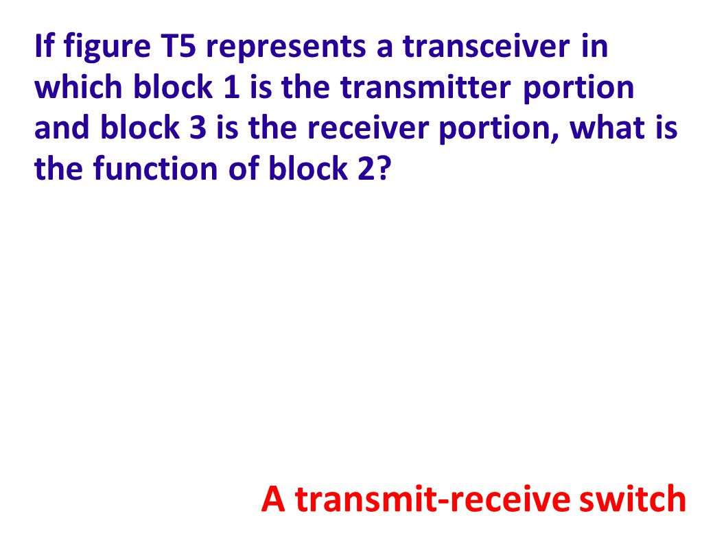 If figure T5 represents a transceiver in which block 1 is the transmitter portion and block 3 is the receiver portion, what is the function of block 2.