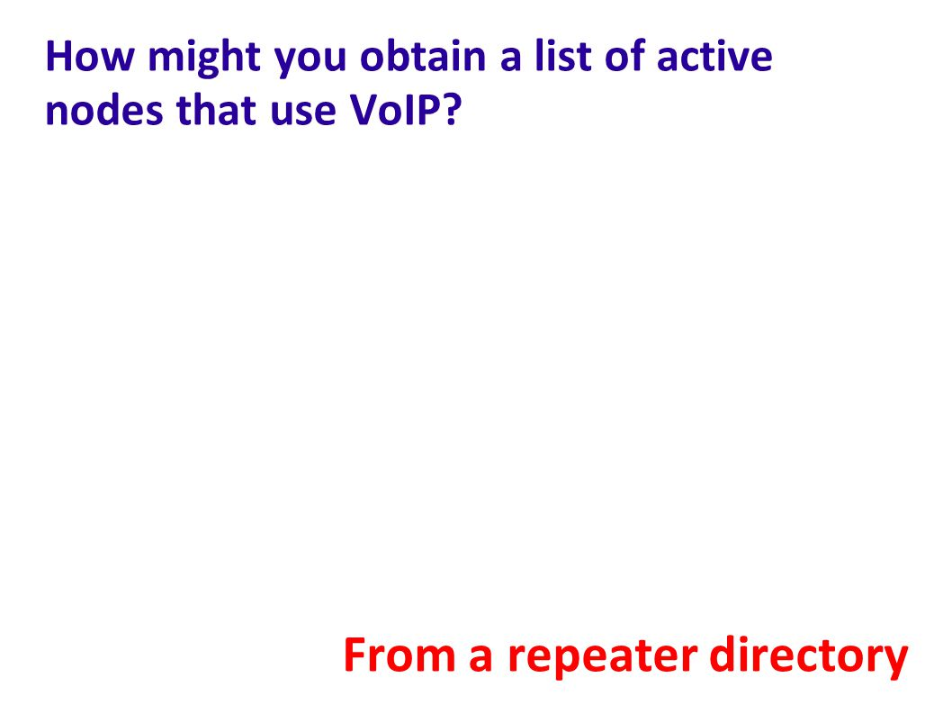 How might you obtain a list of active nodes that use VoIP? From a repeater directory