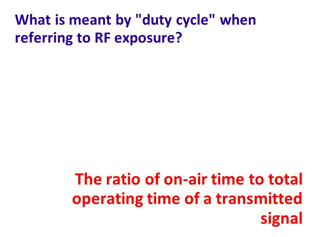 What is meant by duty cycle when referring to RF exposure.