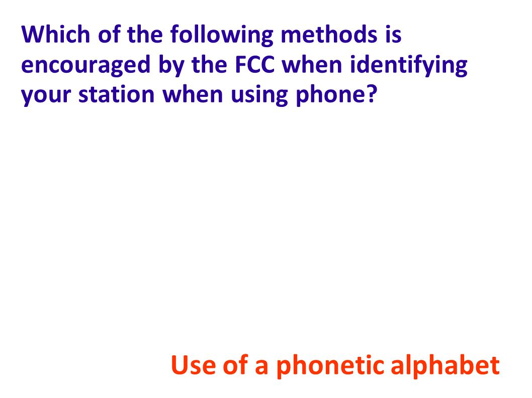 Which of the following methods is encouraged by the FCC when identifying your station when using phone.