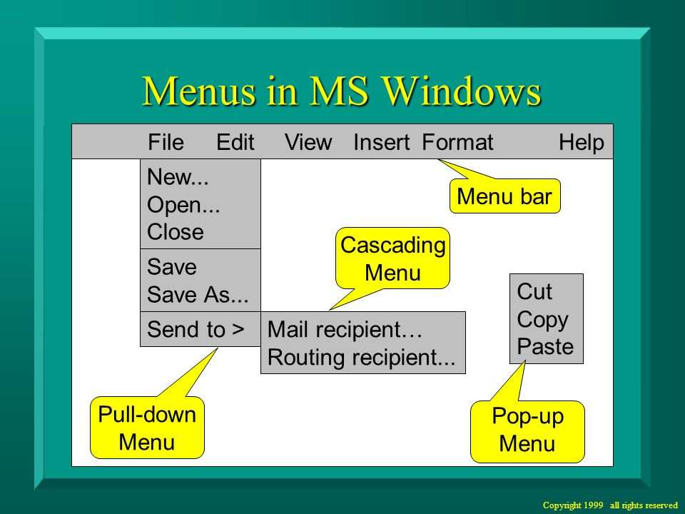 Copyright 1999 all rights reserved Alternate Menu Structures Hierarchical Linear Networked