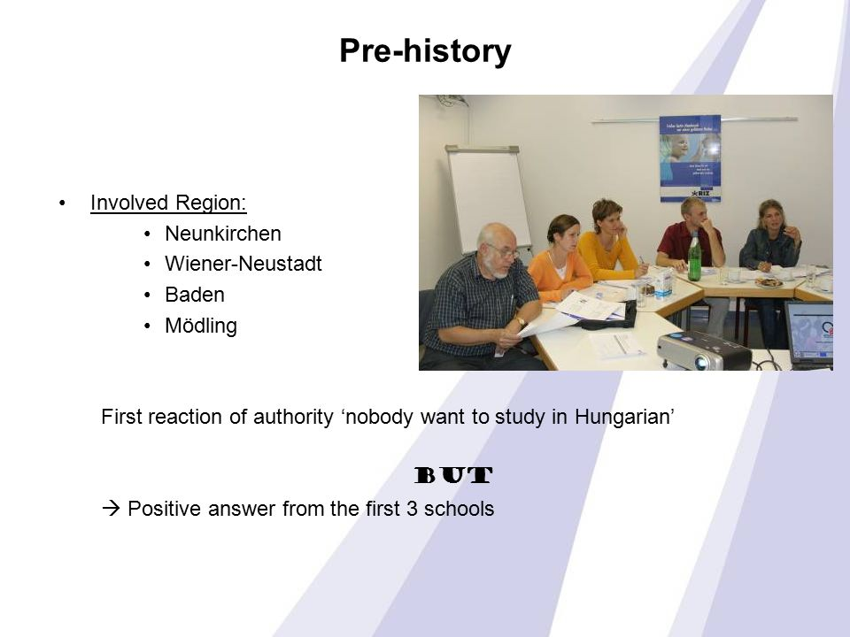 Pre-history Involved Region: Neunkirchen Wiener-Neustadt Baden Mödling First reaction of authority 'nobody want to study in Hungarian' BUT  Positive answer from the first 3 schools