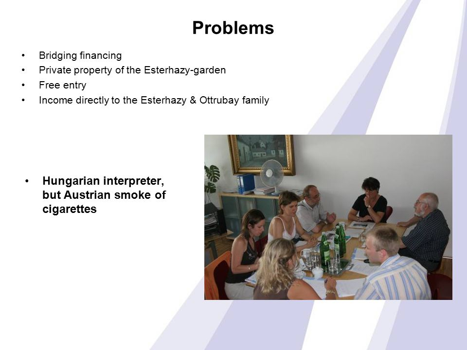 Problems Hungarian interpreter, but Austrian smoke of cigarettes Bridging financing Private property of the Esterhazy-garden Free entry Income directly to the Esterhazy & Ottrubay family