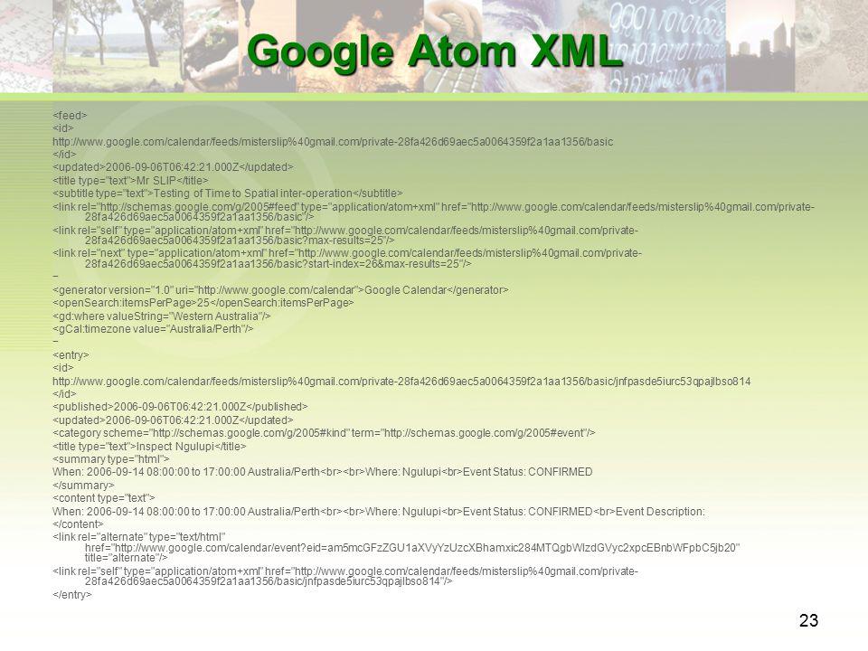 23 Google Atom XML http://www.google.com/calendar/feeds/misterslip%40gmail.com/private-28fa426d69aec5a0064359f2a1aa1356/basic 2006-09-06T06:42:21.000Z Mr SLIP Testing of Time to Spatial inter-operation − Google Calendar 25 − http://www.google.com/calendar/feeds/misterslip%40gmail.com/private-28fa426d69aec5a0064359f2a1aa1356/basic/jnfpasde5iurc53qpajlbso814 2006-09-06T06:42:21.000Z Inspect Ngulupi When: 2006-09-14 08:00:00 to 17:00:00 Australia/Perth Where: Ngulupi Event Status: CONFIRMED When: 2006-09-14 08:00:00 to 17:00:00 Australia/Perth Where: Ngulupi Event Status: CONFIRMED Event Description: