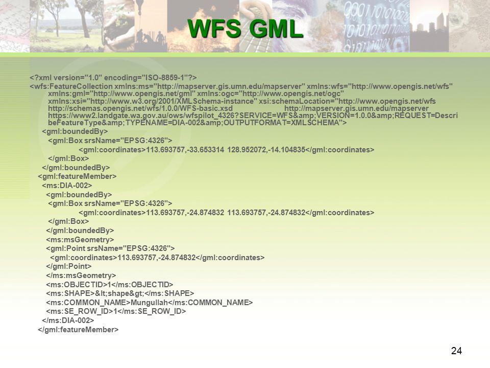 24 WFS GML 113.693757,-33.653314 128.952072,-14.104835 113.693757,-24.874832 113.693757,-24.874832 113.693757,-24.874832 1 <shape> Mungullah 1