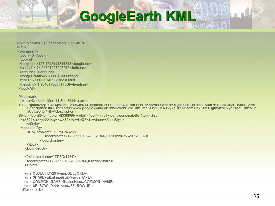 25 GoogleEarth KML 0 127.1702005286288 -24.04701883293867 0 2688545.638801684 1.927116807409823e-10 -1.984617008717568 Ngulupi : Mon 14 Sep 2006 Where: Ngulupi Event Status: CONFIRMED Event Description: http://www.google.com/calendar/event?eid=am5mcGFzZGU1aXVyYzUzcXBhamxic284MTQgbWlzdGVyc2xpcEBnbWFp bC5jb20 ]]> ff339966 root://icons/palette-4.png 224 224 32 32 128.899676,-20.526366,0 128.899676,-20.526366,0 128.899676,-20.526366,0 291 <shape> Ngulupi 291