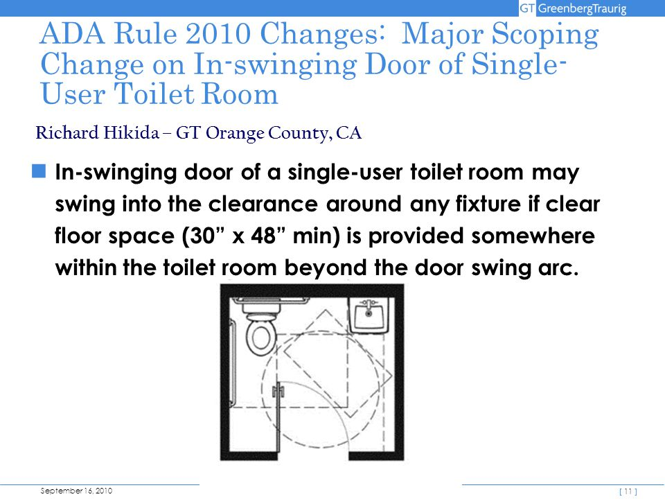 September 16, 2010 [ 11 ] ADA Rule 2010 Changes: Major Scoping Change on In-swinging Door of Single- User Toilet Room In-swinging door of a single-user toilet room may swing into the clearance around any fixture if clear floor space (30 x 48 min) is provided somewhere within the toilet room beyond the door swing arc.