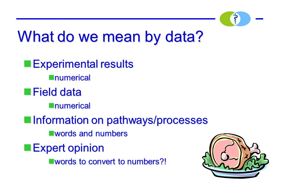 What do we mean by data? Experimental results Experimental results numerical numerical Field data Field data numerical numerical Information on pathwa