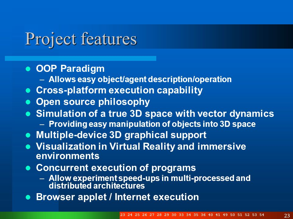 3 4 5 6 7 8 10 11 12 13 14 15 16 17 19 20 21 22 23 24 25 26 27 28 29 30 33 34 35 36 40 41 49 50 51 52 53 54 23 Project features OOP Paradigm –Allows easy object/agent description/operation Cross-platform execution capability Open source philosophy Simulation of a true 3D space with vector dynamics –Providing easy manipulation of objects into 3D space Multiple-device 3D graphical support Visualization in Virtual Reality and immersive environments Concurrent execution of programs –Allow experiment speed-ups in multi-processed and distributed architectures Browser applet / Internet execution