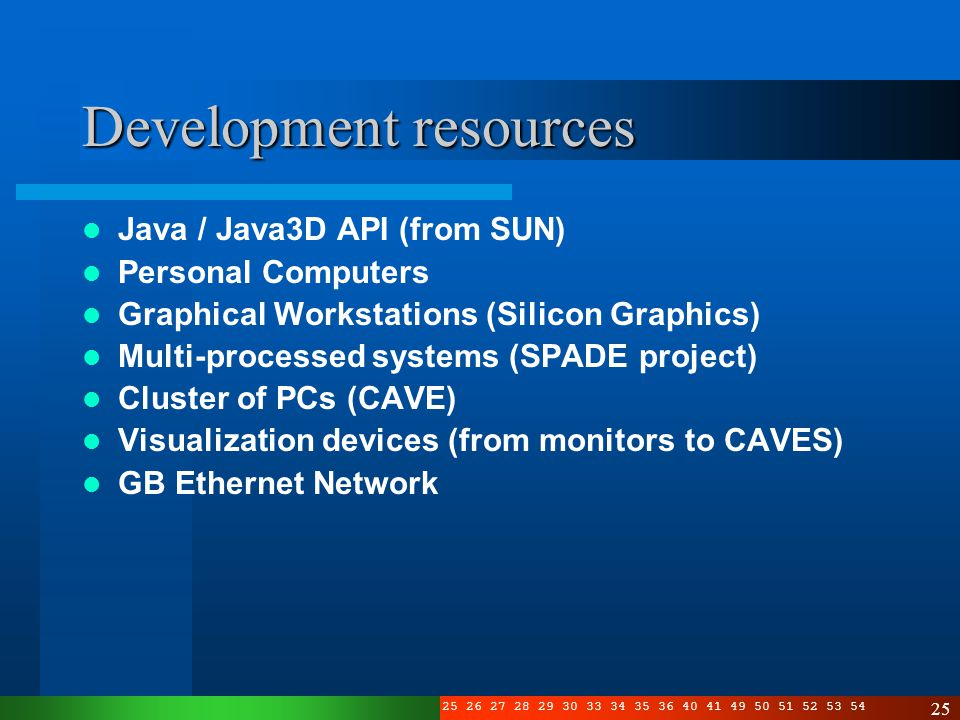 3 4 5 6 7 8 10 11 12 13 14 15 16 17 19 20 21 22 23 24 25 26 27 28 29 30 33 34 35 36 40 41 49 50 51 52 53 54 25 Development resources Java / Java3D API (from SUN) Personal Computers Graphical Workstations (Silicon Graphics) Multi-processed systems (SPADE project) Cluster of PCs (CAVE) Visualization devices (from monitors to CAVES) GB Ethernet Network