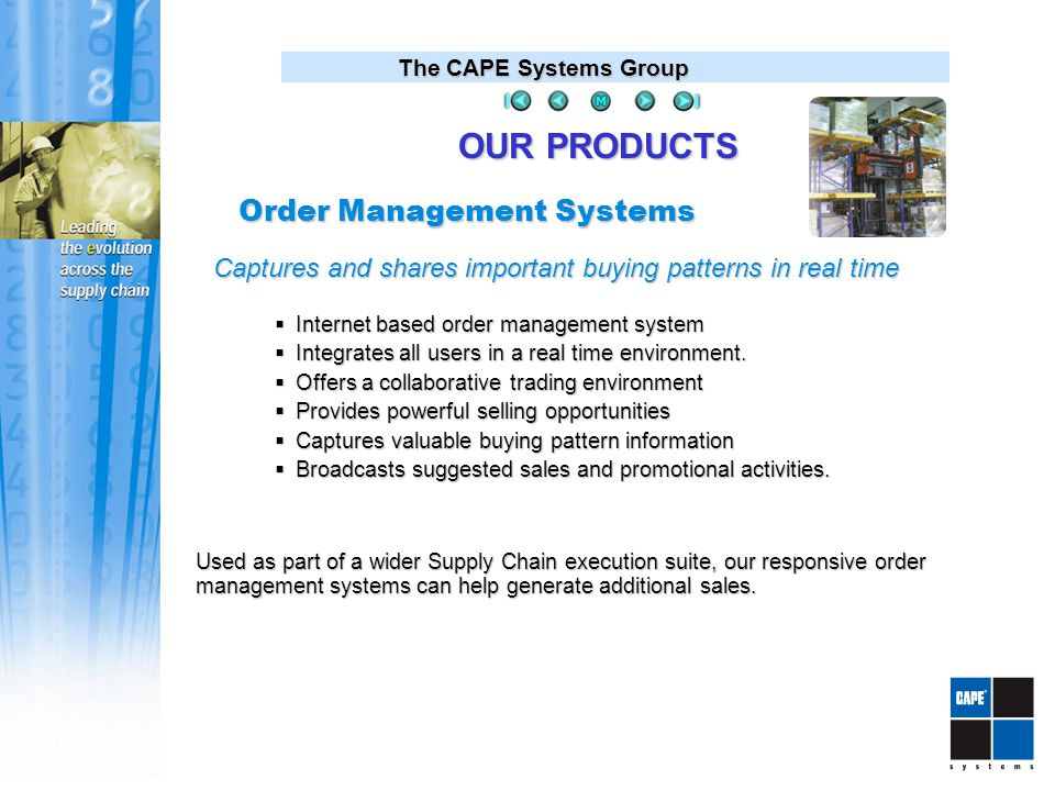 The CAPE Systems Group Order Management Systems  Internet based order management system  Integrates all users in a real time environment.