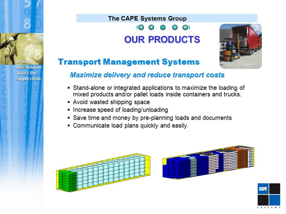 The CAPE Systems Group Transport Management Systems  Stand-alone or integrated applications to maximize the loading of mixed products and/or pallet loads inside containers and trucks.