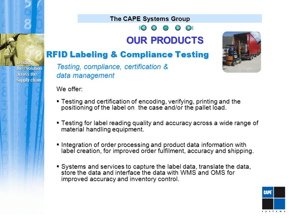 The CAPE Systems Group We offer:  Testing and certification of encoding, verifying, printing and the positioning of the label on the case and/or the pallet load.
