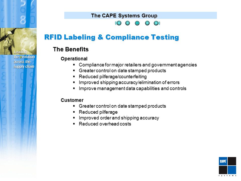 The CAPE Systems Group Operational  Compliance for major retailers and government agencies  Greater control on date stamped products  Reduced pilferage/counterfeiting  Improved shipping accuracy/elimination of errors  Improve management data capabilities and controls Customer  Greater control on date stamped products  Reduced pilferage  Improved order and shipping accuracy  Reduced overhead costs The Benefits RFID Labeling & Compliance Testing