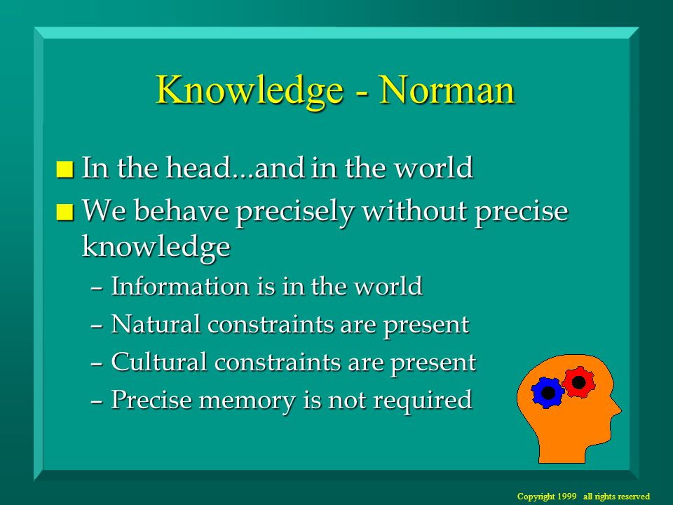 Copyright 1999 all rights reserved Knowledge - Norman n In the head...and in the world n We behave precisely without precise knowledge –Information is in the world –Natural constraints are present –Cultural constraints are present –Precise memory is not required